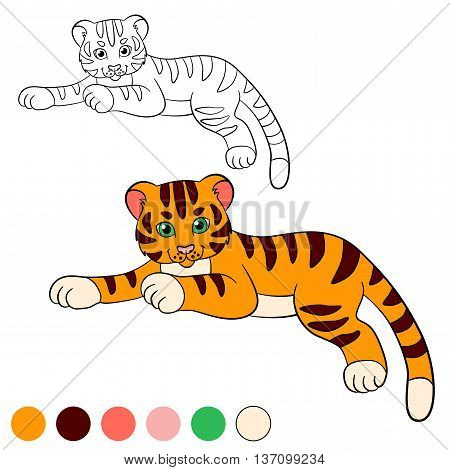 Coloring Page. Color Me: Tiger. Little Cute Baby Tiger Lays And Smiles.