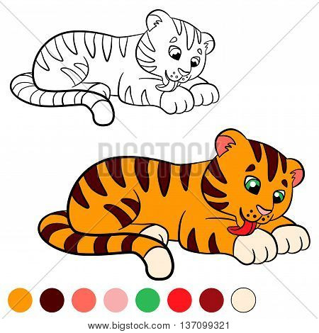 Coloring Page. Color Me: Tiger. Little Cute Baby Tiger.