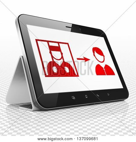 Law concept: Tablet Computer with red Criminal Freed icon on display, 3D rendering