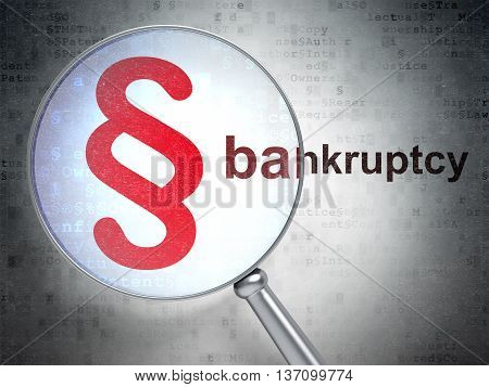 Law concept: magnifying optical glass with Paragraph icon and Bankruptcy word on digital background, 3D rendering
