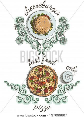 Sketches of food for the menu. Cheeseburger on the plate pizza and cola with ornament. View from above. Vector illustration.