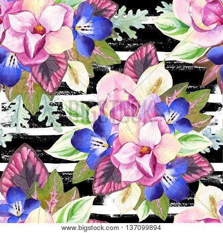 Seamless Background With Watercolor Tropical Flowers.