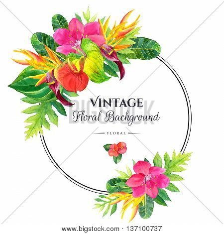 Floral illustration with tropical flowers and plants on white background. Composition with palm leaves anthurium and strelitzia. Round frame.