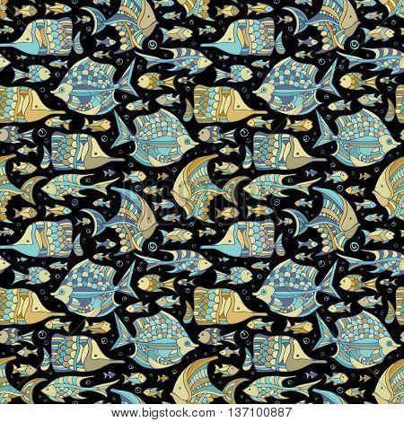 Vector Seamless Ocean Fish Pattern.