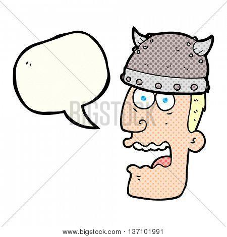 freehand drawn comic book speech bubble cartoon screaming warrior man