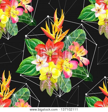 . Beautiful bouquet with amaryllis palm leaves plumeria strelitzia and orchid on black geometric background. Botanical illustration.