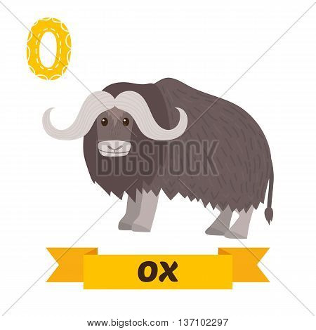 Ox. O Letter. Cute Children Animal Alphabet In Vector. Funny Cartoon Animals