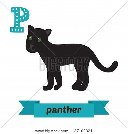 Panther. P Letter. Cute Children Animal Alphabet In Vector. Funny Cartoon Animals
