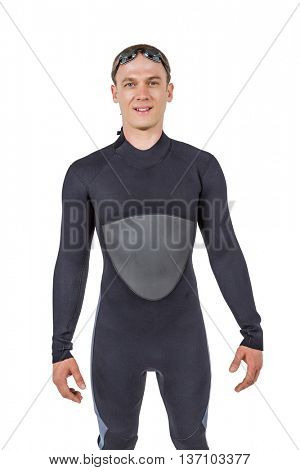 Portrait of swimmer in wetsuit on white background