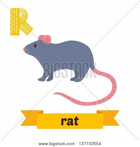 Rat. R Letter. Cute Children Animal Alphabet In Vector. Funny Cartoon Animals