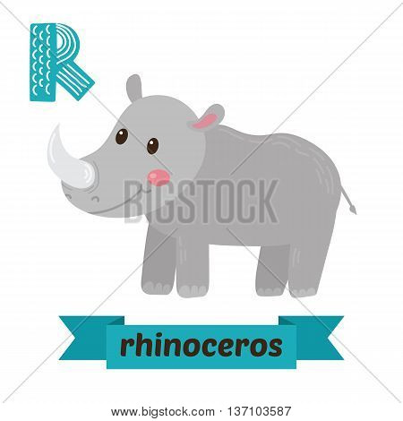 Rhinoceros. R Letter. Cute Children Animal Alphabet In Vector. Funny Cartoon Animals