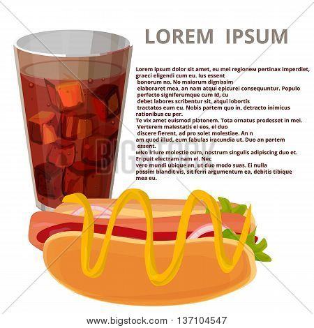 glass of cola and hot dog, background for the menu, vector illustration