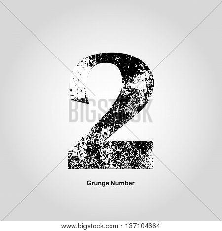 Grunge number Two. Distress damaged object. Vector illustration. Math objects