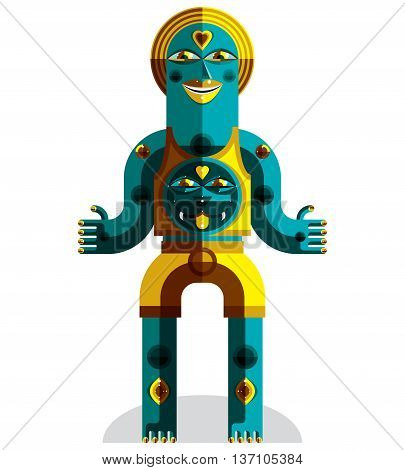 Vector Illustration Of Bizarre Modernistic Avatar, Odd Beast, Cubism Theme Picture. Colorful Drawing