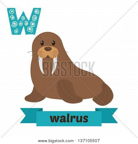 Walrus. W Letter. Cute Children Animal Alphabet In Vector. Funny Cartoon Animals
