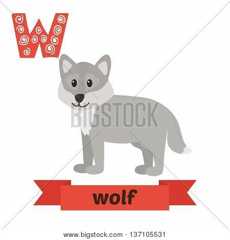Wolf. W Letter. Cute Children Animal Alphabet In Vector. Funny Cartoon Animals