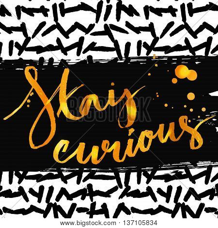 Stay curious. Golden calligraphy with ink drops. Inspirational quote expressive handwritten with brush on messy marker texture. Vector design for t-shirts, cards and wall art.