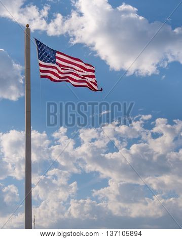 A large American flag waving in the breeze in El Reno, Oklahoma.