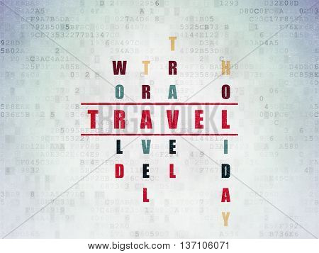 Travel concept: Painted red word Travel in solving Crossword Puzzle on Digital Data Paper background