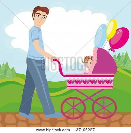 Dad walks with daughter in the park , vector illustration