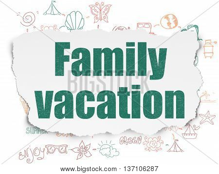 Vacation concept: Painted green text Family Vacation on Torn Paper background with Scheme Of Hand Drawn Vacation Icons