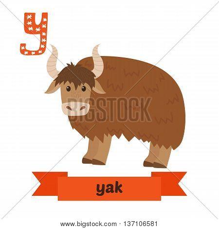 Yak. Y Letter. Cute Children Animal Alphabet In Vector. Funny Cartoon Animals