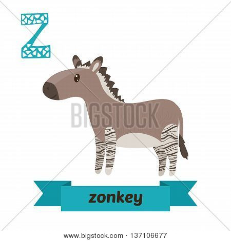 Zonkey. Z Letter. Cute Children Animal Alphabet In Vector. Funny Cartoon Animals