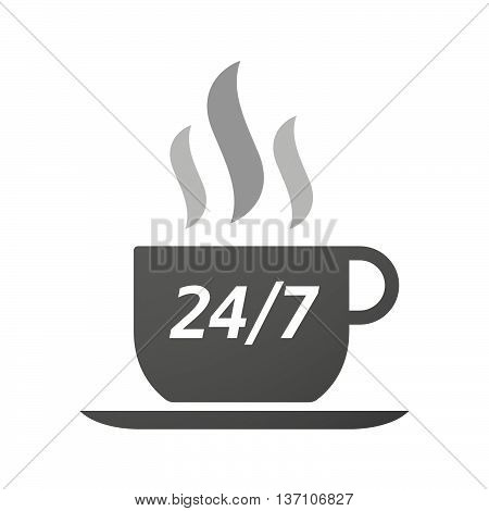Coffee Mug Icon With    The Text 24/7