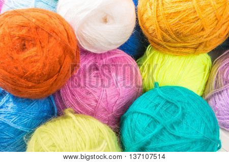 A Bunch Of Multi-colored Woolen Threads Closeup