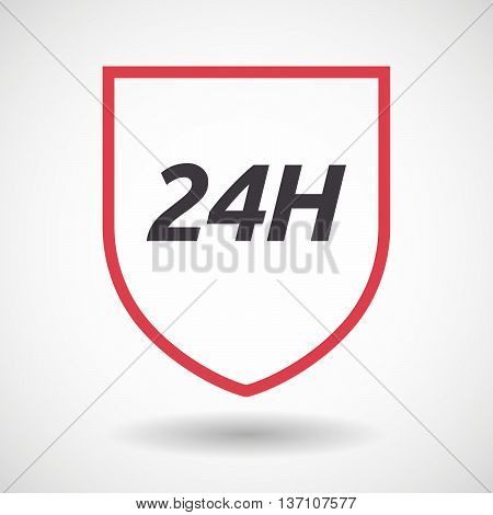 Isolated Line Art Shield Icon With    The Text 24H