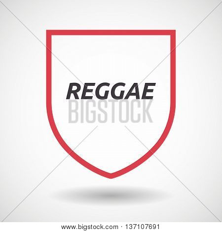 Isolated Line Art Shield Icon With    The Text Reggae