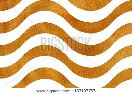 Golden Wavy Striped Background.