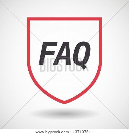 Isolated Line Art Shield Icon With    The Text Faq