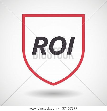 Isolated Line Art Shield Icon With    The Return Of Investment Acronym Roi