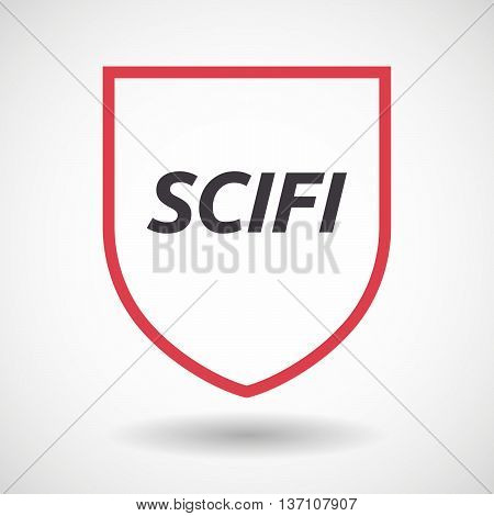 Isolated Line Art Shield Icon With    The Text Scifi