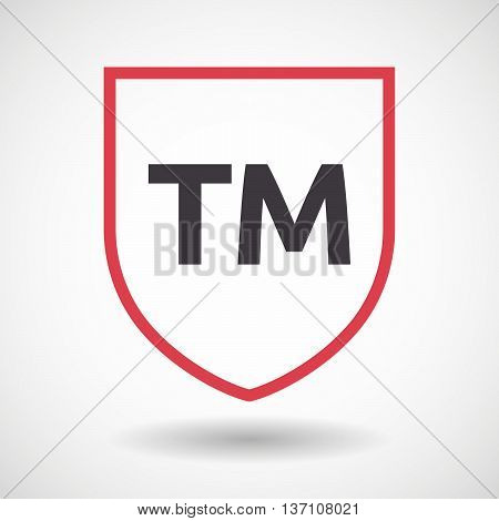 Isolated Line Art Shield Icon With    The Text Tm