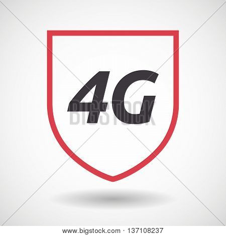 Isolated Line Art Shield Icon With    The Text 4G