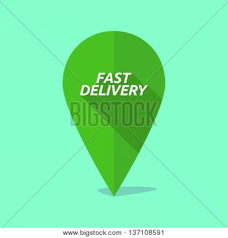 Long Shadow Map Mark Icon With  The Text Fast Delivery