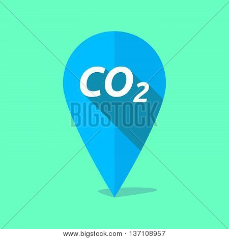 Long Shadow Map Mark Icon With    The Text Co2