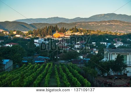 Small macedonian village and countryside at sunrise in Greece