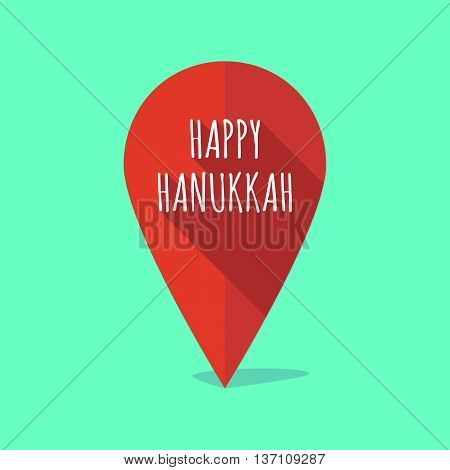 Long Shadow Map Mark Icon With    The Text Happy Hanukkah