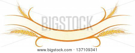 Vector illustration decorated gold ribbons with ripe wheat ears. Can be used as frame corner or border design decorative element for packaging design.
