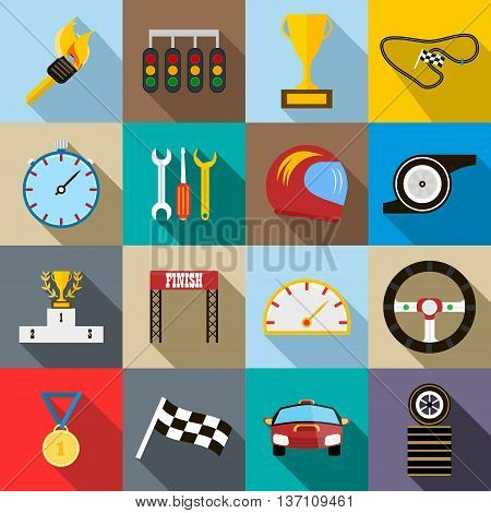 Race icons set in flat style vector illustration