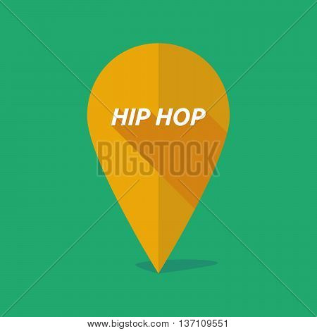 Long Shadow Map Mark Icon With    The Text Hip Hop