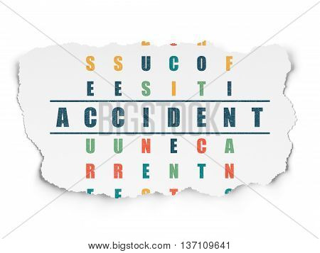 Insurance concept: Painted blue word Accident in solving Crossword Puzzle on Torn Paper background