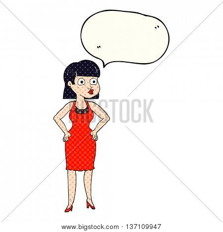 freehand drawn comic book speech bubble cartoon woman in dress with hands on hips