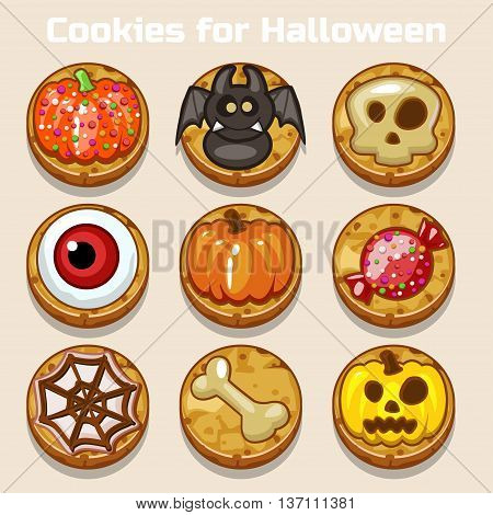 Cartoon Cute funny Halloween Cookies in vector