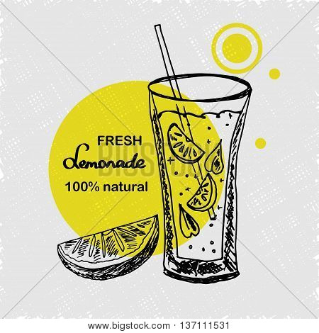 Hand drawn poster with lemonade. Lemonade lettering. A glass of lemonade with straw mint and slice of lemons. Sketch style. Vector illustartion.