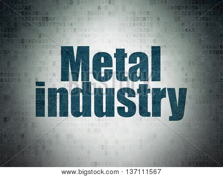 Industry concept: Painted blue word Metal Industry on Digital Data Paper background