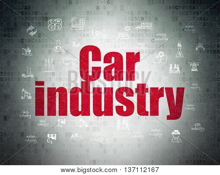 Industry concept: Painted red text Car Industry on Digital Data Paper background with  Hand Drawn Industry Icons
